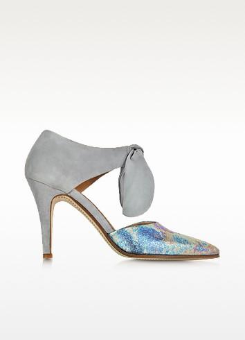 Zoe Lee Marlon - Разноцветные Туфли-Лодочки из Ткани Металлик и Замши с Бантами