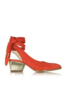 Oberline Red Suede Ankle Wrap Shoe - Zoe Lee