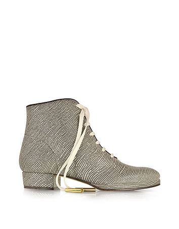 Zachary Lizard Embossed Lace up Bootie