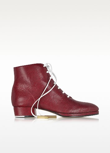 Zachary Red Lizard Embossed Lace up Bootie - Zoe Lee