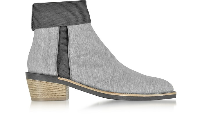 St Rose Grey Coated Cotton Sweatshirt Jersey Ankle Boot w/Nylon Knite Elastic Detail - Zoe Lee