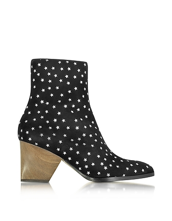 Addis Black and Silver Star Printed Suede Boot