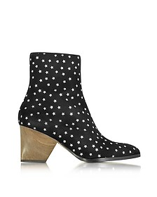 Addis Black and Silver Star Printed Suede Boot - Zoe Lee