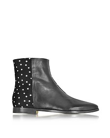 Creola Black Leather and Suede Bots w/Silver Stars - Zoe Lee