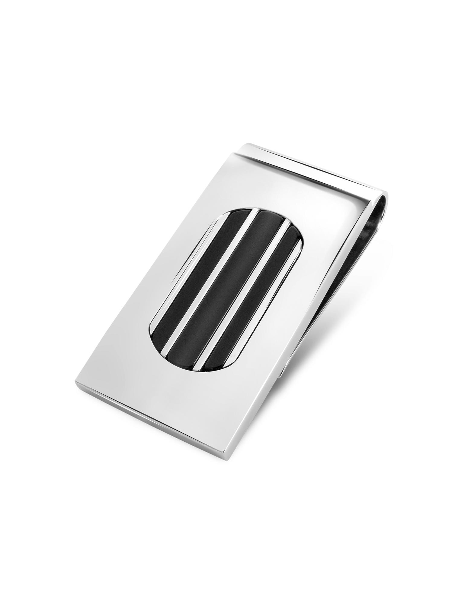 Zoppini  Onyx Round Collection - Stainless Steel Money Clip