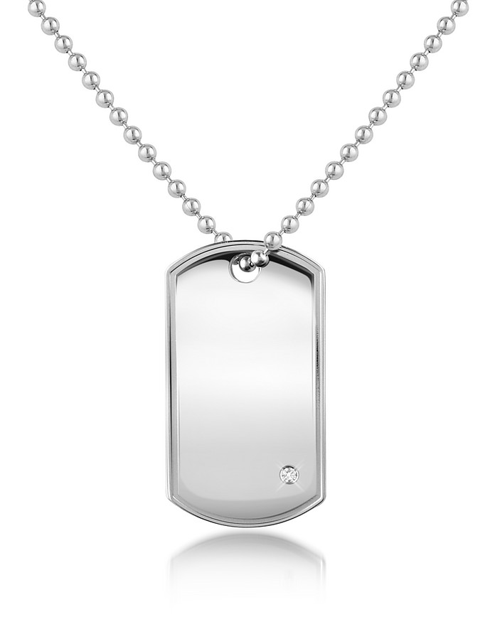 Cubic Zirconia Stainless Steel ID Military Plate Necklace - Manuel Zed