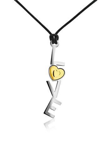 Zoppini 18k Gold and Stainless Steel Love Pendant w/Lace