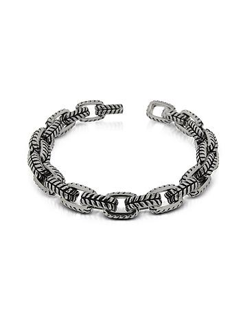 Zoppini - Zo-Chain Stainless Steel and Black Enamel Link Bracelet