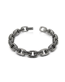 Zo-Chain Stainless Steel and Black Enamel Link Bracelet - Zoppini