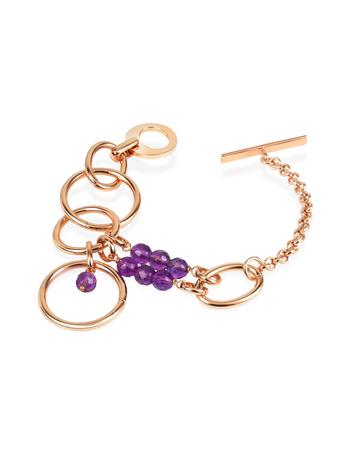 Zoppini Purple Quartz Drops Bronze Toggle Bracelet