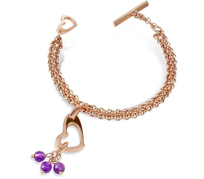 Purple Quartz Drops Bronze Heart Bracelet - Zoppini