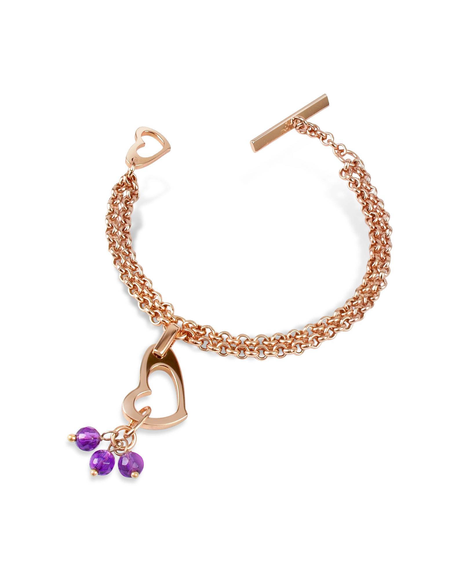 Zoppini Purple Quartz Drops Bronze Heart Bracelet