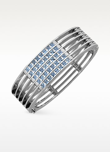 Dare to Love - Stainless Steel and Spinel Stone Cuff Bracelet - Zoppini