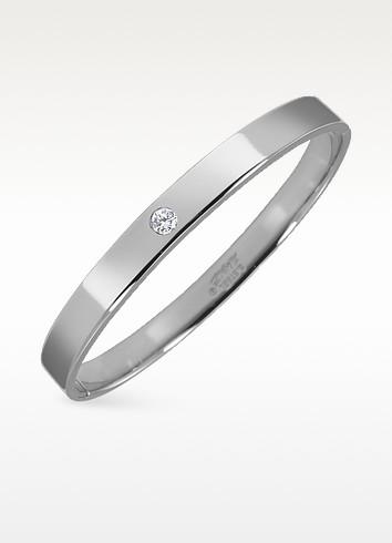 Central Cubic Zirconia Stainless Steel Bangle Bracelet - Manuel Zed