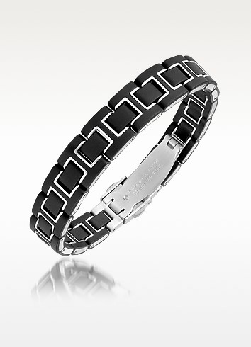 Zo-Dark Rubber and Stainless Steel Chain Bracelet - Zoppini