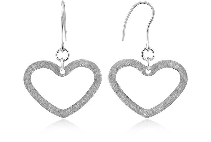 Brushed Stainless Steel Heart Earrings - Zable