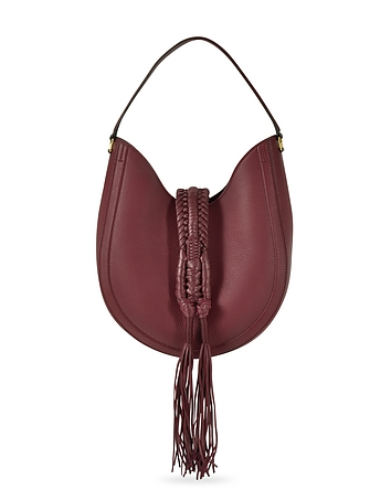 Ghianda Small Garnet Red Leather Knot Hobo Bag