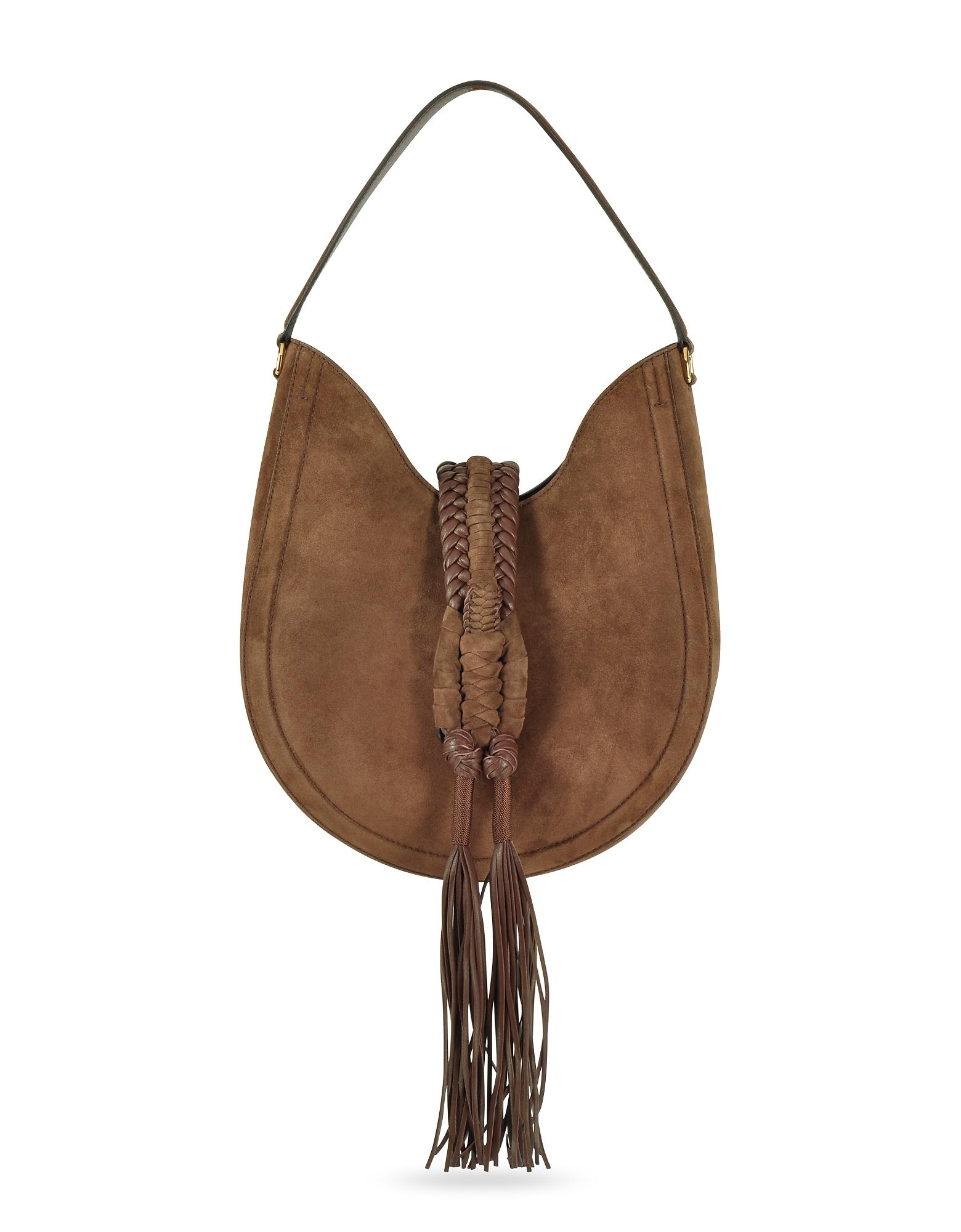 Altuzarra Handbags, Ghianda Small Chocolate Suede Knot Hobo Bag