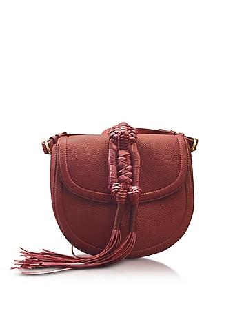 Altuzarra - Ghianda Knot Garnet Red Leather Saddle Bag