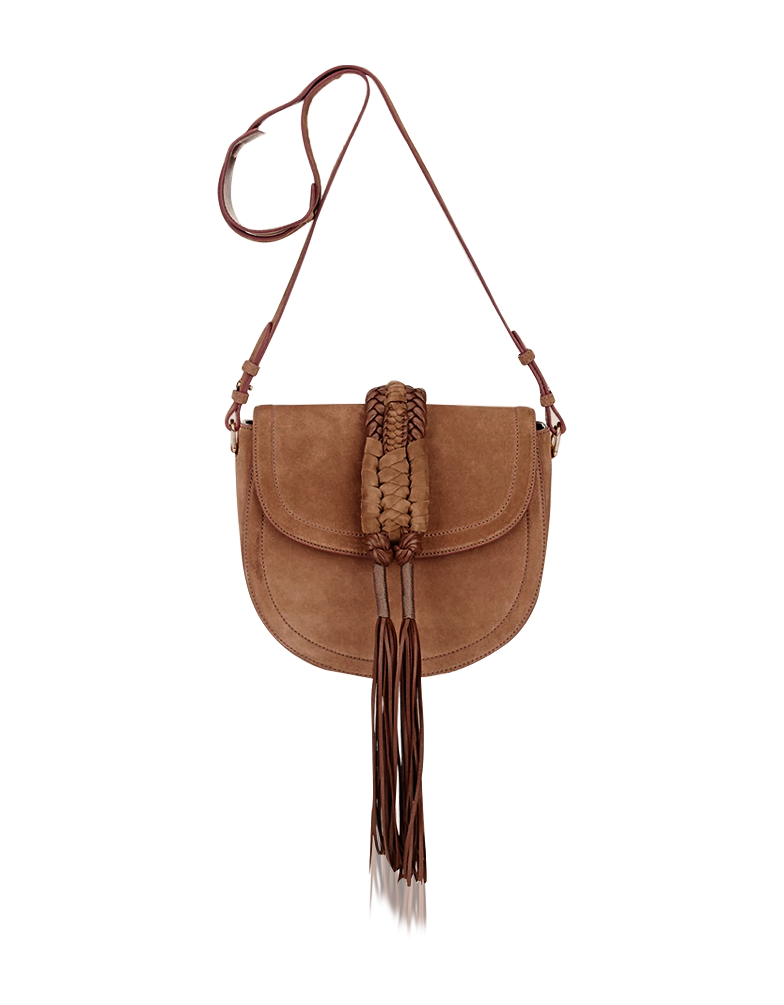 Altuzarra Handbags, Ghianda Knot Suede Chocolate Saddle Bag