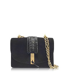 Black Suede Ghianda Chain Shoulder Bag w/Braid - Altuzarra