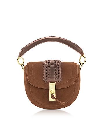 Altuzarra - Chocolate Suede Ghianda Top Handle Mini Saddle Bag