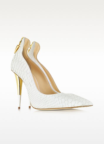 White Croco Embossed Leather Pump - Giuseppe Zanotti