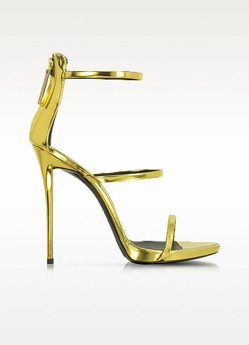 Sandale aus goldfarbenem Leder mit Reißverschluss - Giuseppe Zanotti