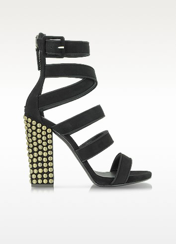 Black Suede Sandal w/Studded Heel - Giuseppe Zanotti