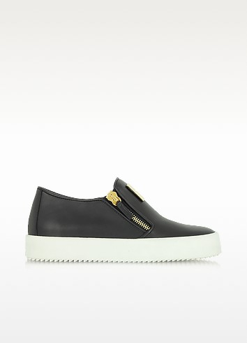 Black Leather Slip On Sneaker - Giuseppe Zanotti