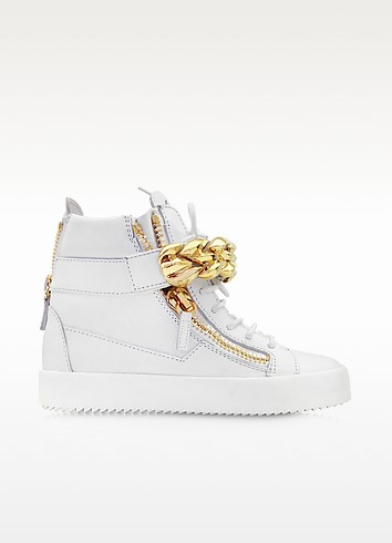 White Leather High-top Sneaker w/Chain Detail - Giuseppe Zanotti