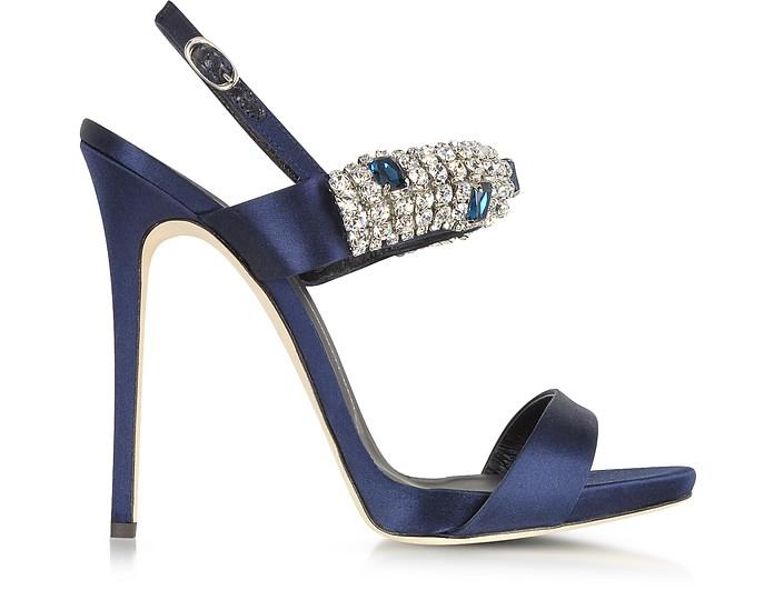 Navy Satin & Crystal High Heel Sandal - Giuseppe Zanotti