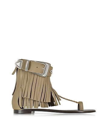 Khaki Leather Fringe Sandal