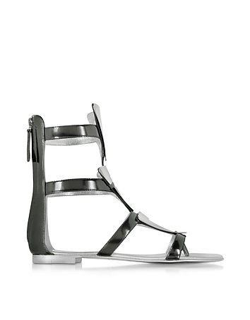 Giuseppe Zanotti - Anthracite Metallic Leather Sandal