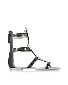 Anthracite Metallic Leather Sandal - Giuseppe Zanotti