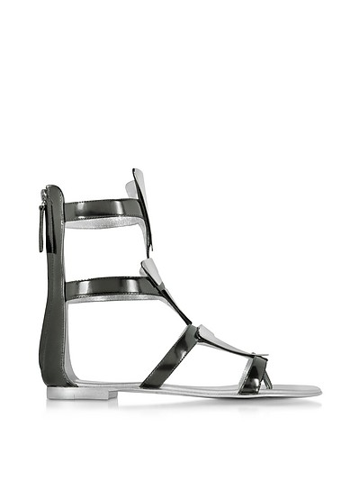 Anthracite Metallic Leather Sandal - Giuseppe Zanotti