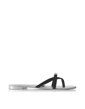 Giuseppe Zanotti - Pia Black Suede Flat Sandal w/Crystals