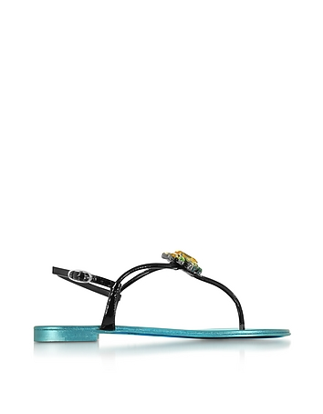 Giuseppe Zanotti - Pia Black Patent Leather Flat Sandal w/Crystals and Blue Metallic Insole