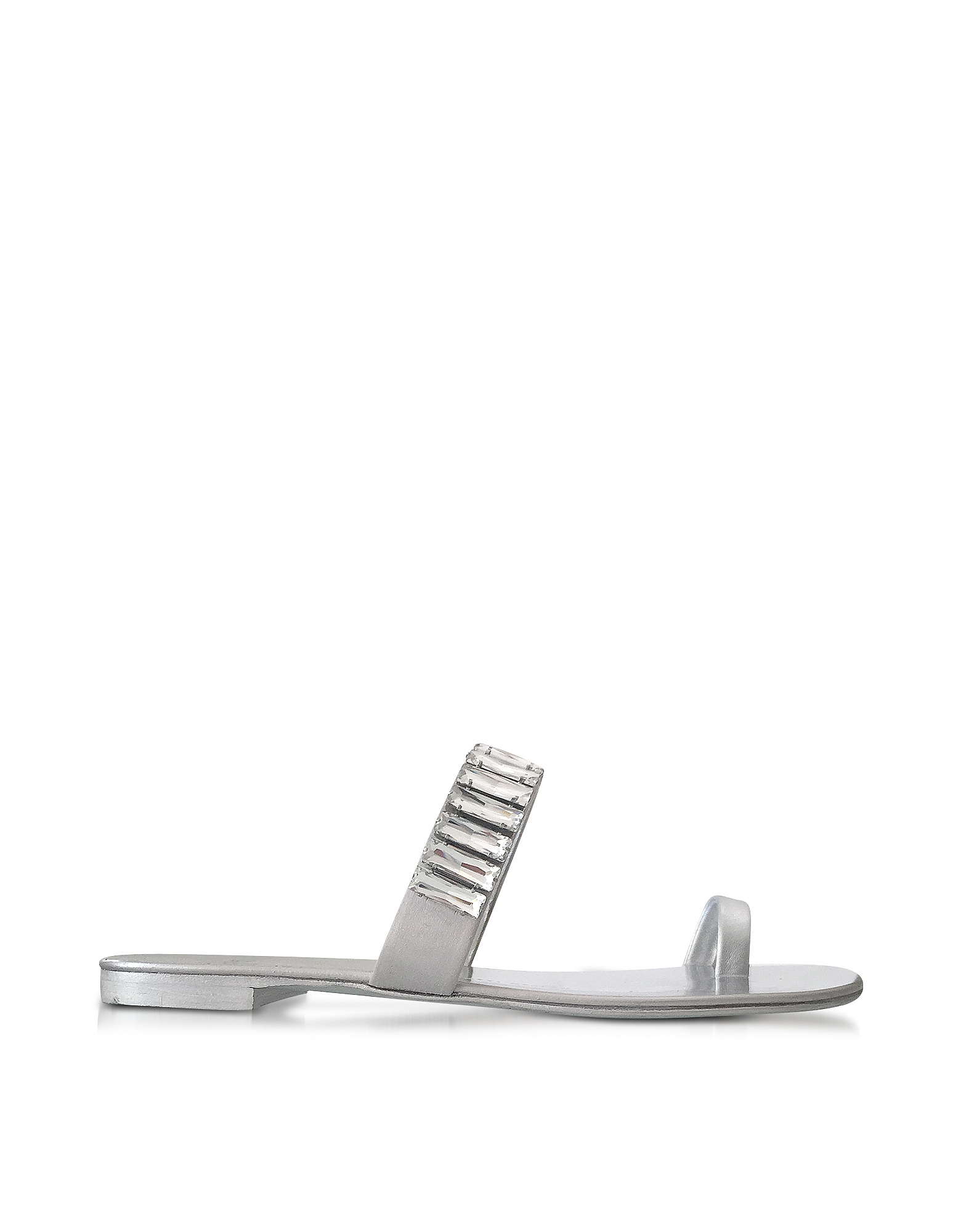 Giuseppe Zanotti Shoes, Pia Silver Leather Flat Sandal w/Crystals