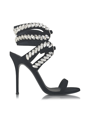 Black Suede High Heel Sandal w/Crystals