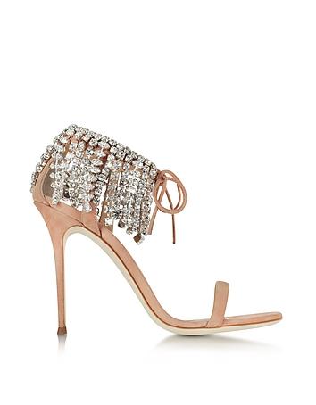 Nude Suede High Heel Sandal w/Crystals