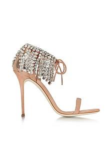 Nude Suede High Heel Sandal w/Crystals - Giuseppe Zanotti