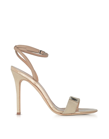 Beige Suede and Leather High Heel Sandal w/Crystal
