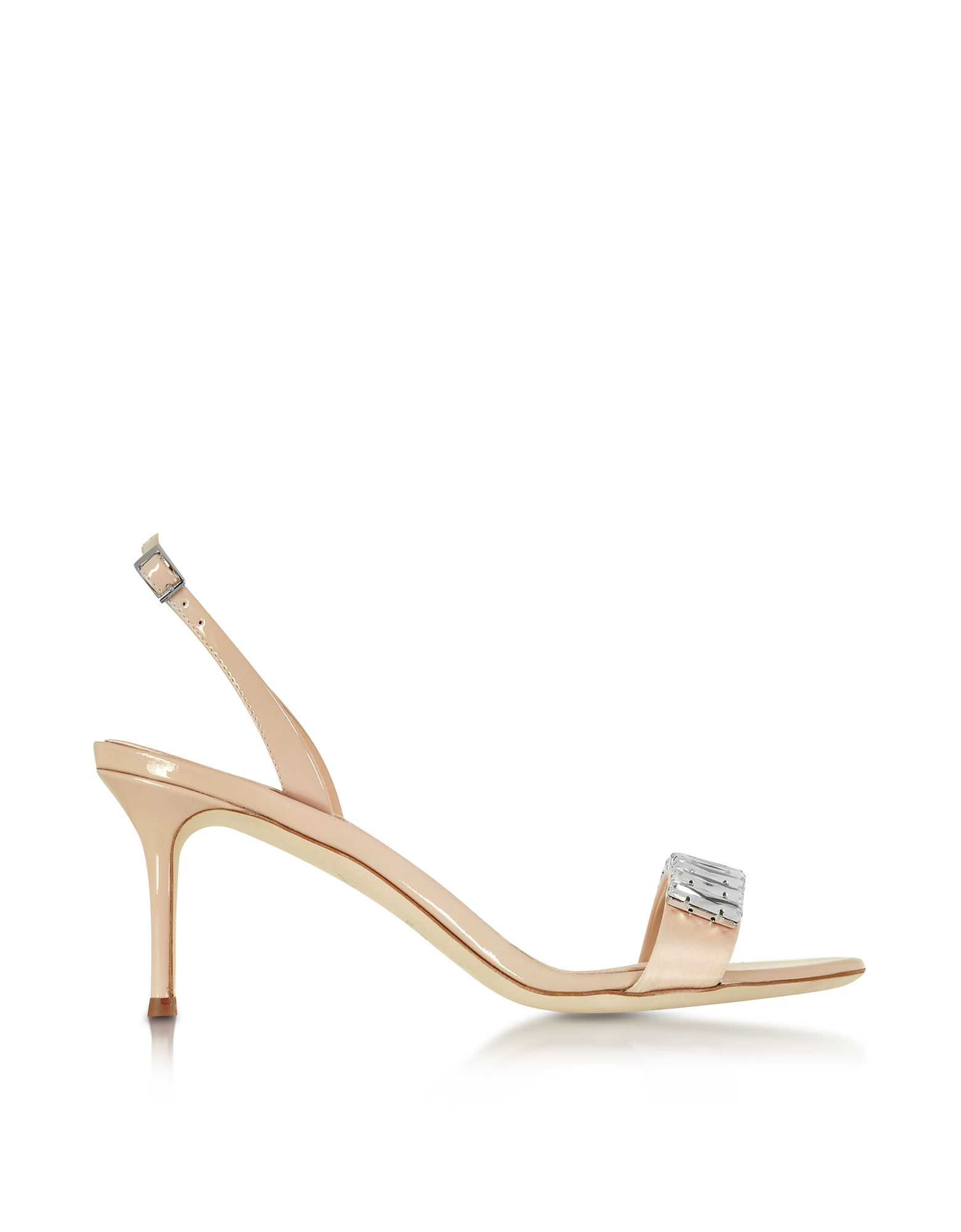 Giuseppe Zanotti Shoes, Powder Pink Satin and Patent Leather Mid Heel Sandal w/Crystals