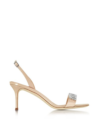Powder Pink Satin and Patent Leather Mid Heel Sandal w/Crystals - Giuseppe Zanotti