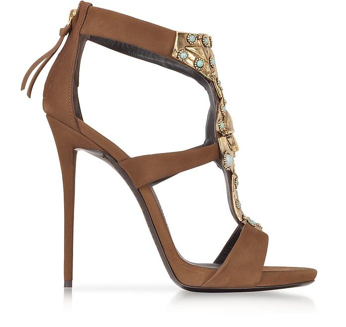 Katun Jeweled Nabuk Leather Sandal - Giuseppe Zanotti