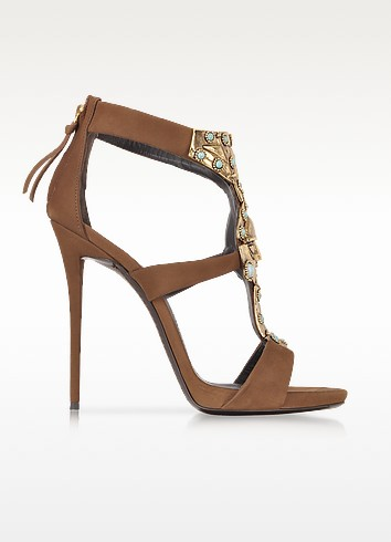 Katun Jeweled Nabuk Leather Sandal - Giuseppe Zanotti