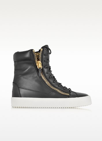 Black Leather and Crystals Sneaker - Giuseppe Zanotti