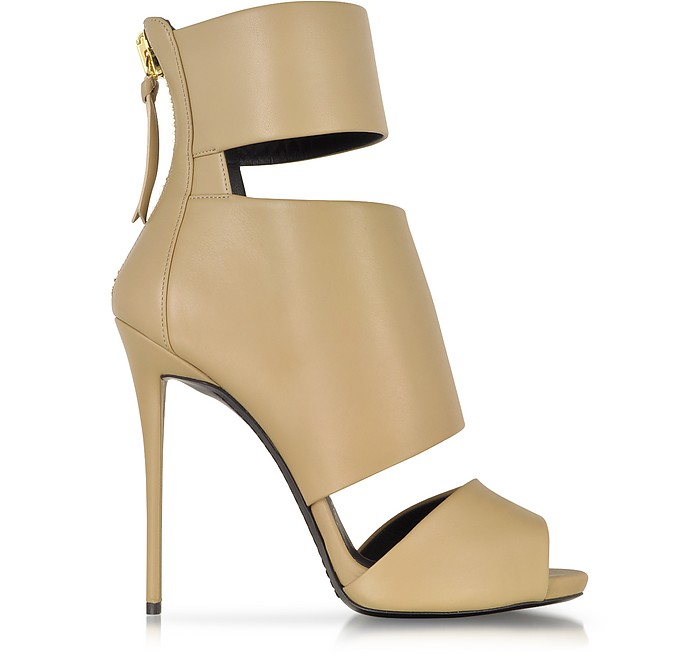 Banded Cappuccino Leather Bootie - Giuseppe Zanotti