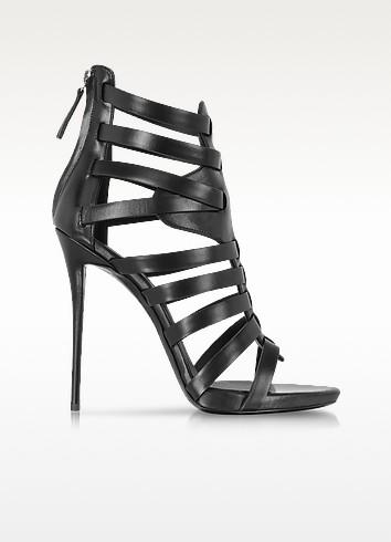 Black Leather High Heel Sandal - Giuseppe Zanotti